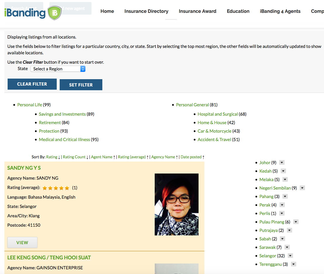 The iBanding insurance directory website, and example of a WordPress custom directory.