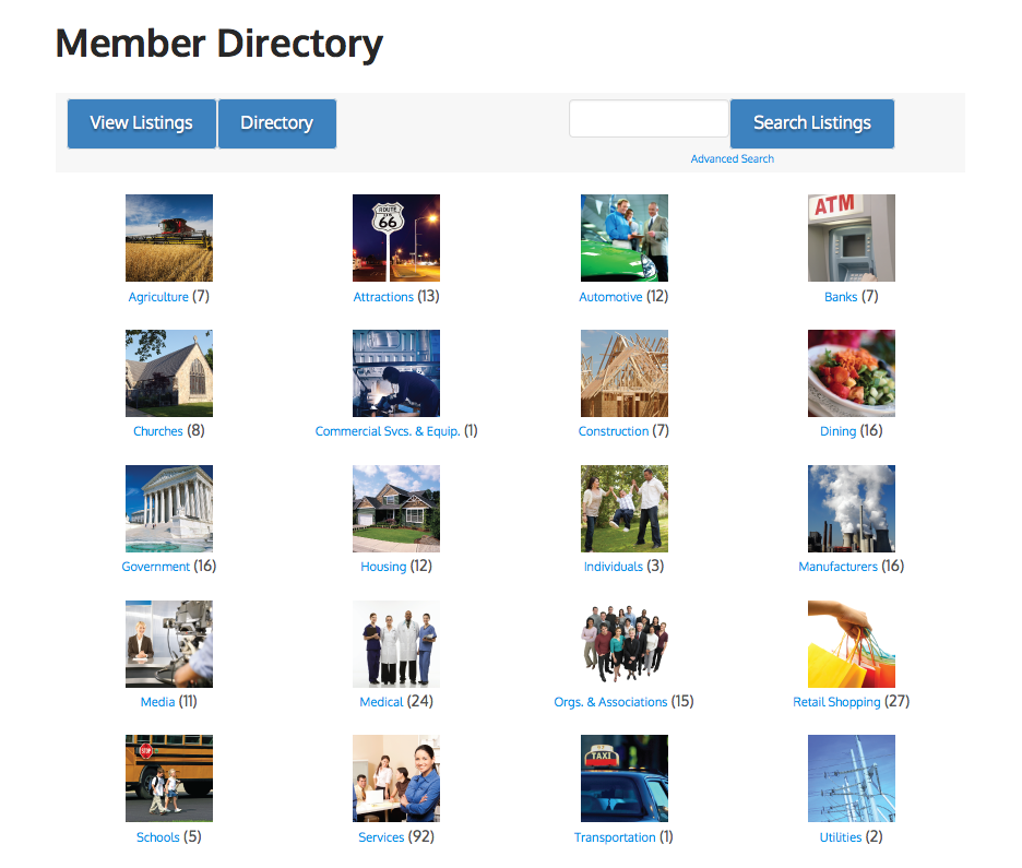 The WordPress custom directory for a chamber of commerce. Each category has an image.