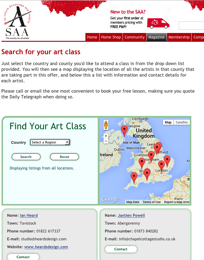 The Society for All Artists WordPress custom directory page.