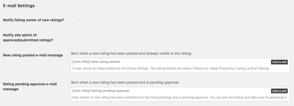 directory ratings email notifications