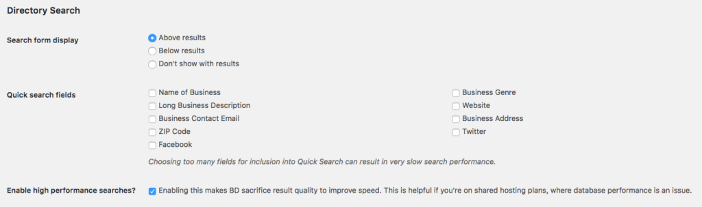 Wordpress search directory