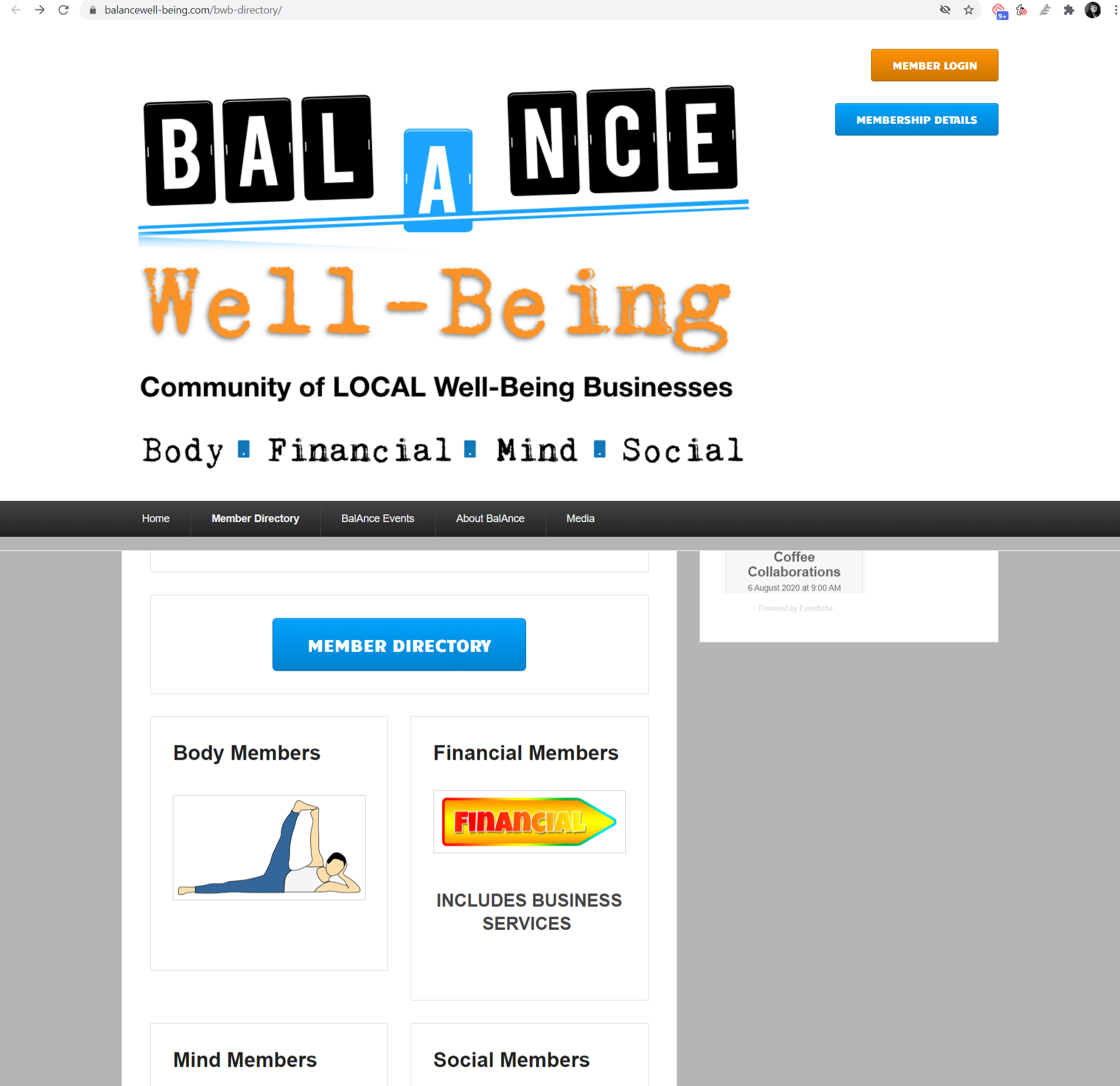 The directory homepage for Balance Well-Being.