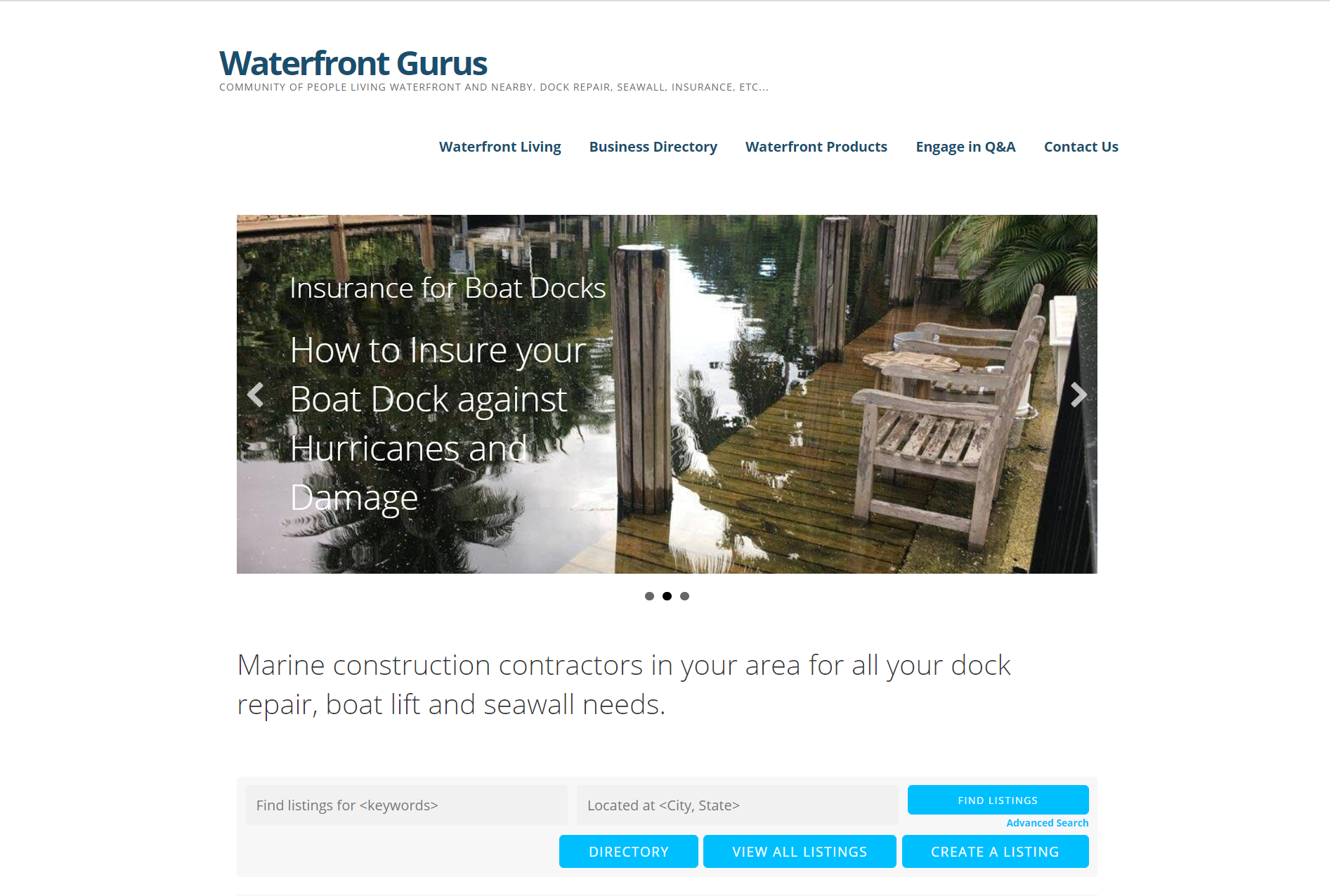 Waterfront Gurus directory homepage, one of the best business directory websites.