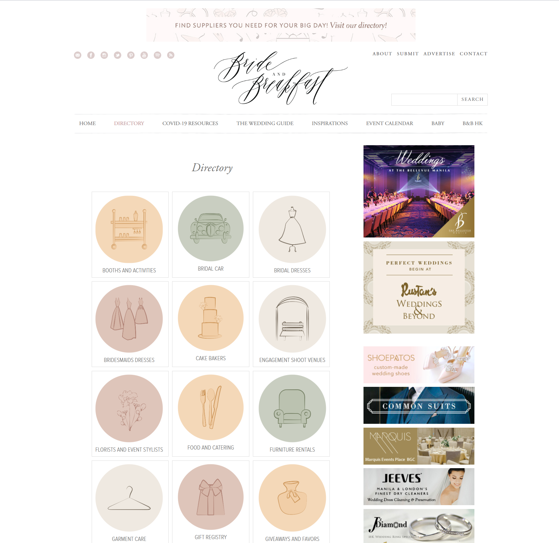 The homepage for Bride and Breakfast, one of the best business directory websites.