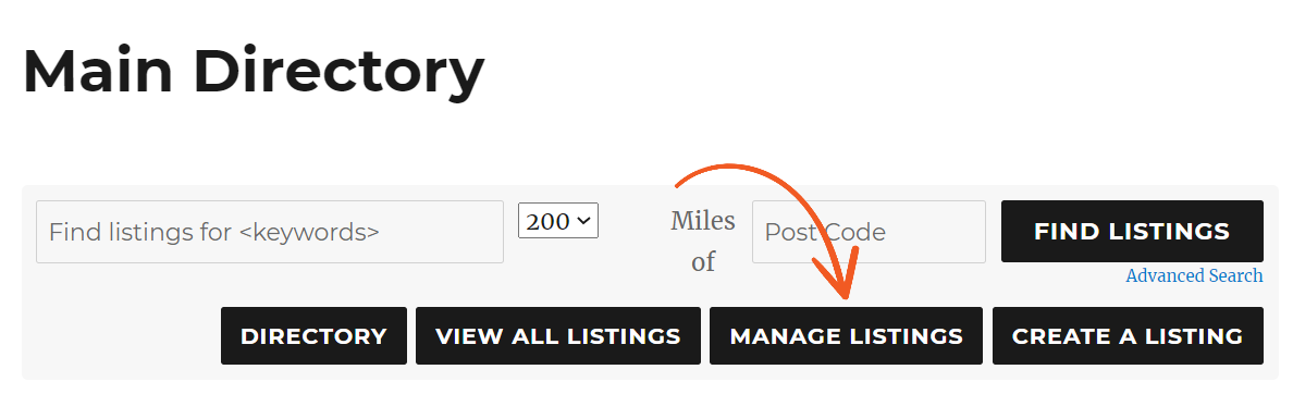 manage user listings button