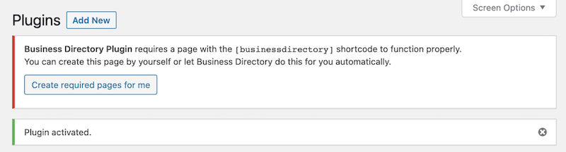 Business Directory Plugin activated