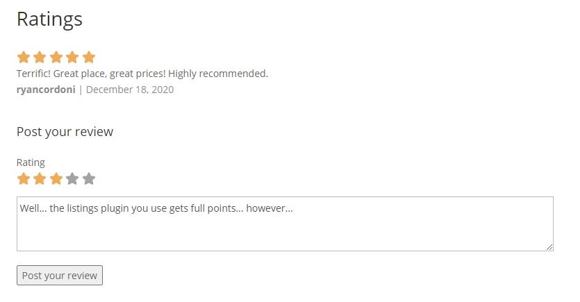 star ratings WordPress directory