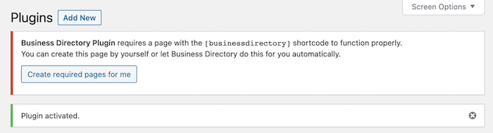 Business Directory Plugin activated to start a business directory website