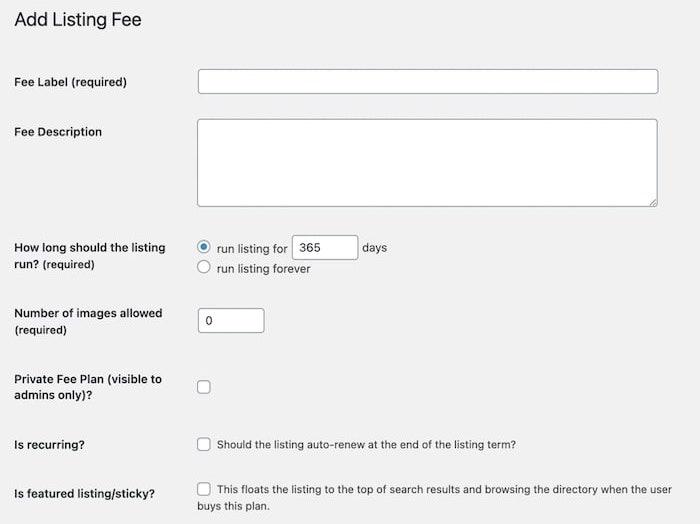 Creating Business Directory Plugin fee plan