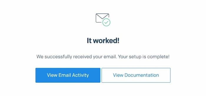 Email setup verified