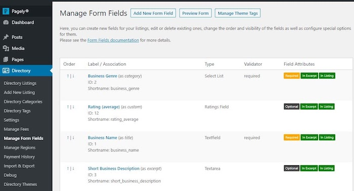 Directory form field management interface