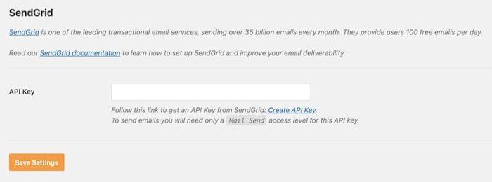 SendGrid API key input box in WP Mail SMTP