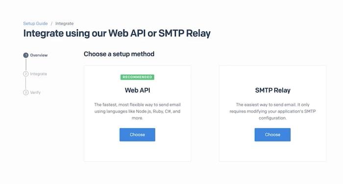 SendGrid API selection