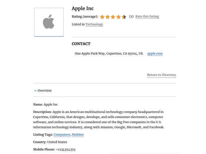 apple yellow page single view