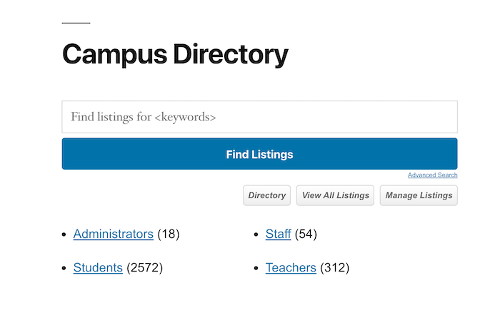 campus directory main page top