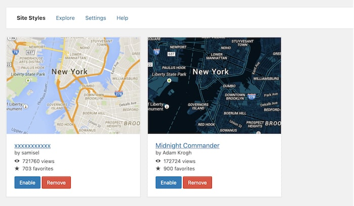 Snazzy Maps site styles