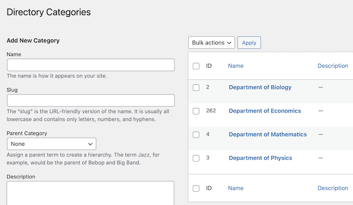 Directory Categories