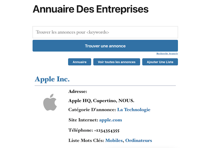 business directory french