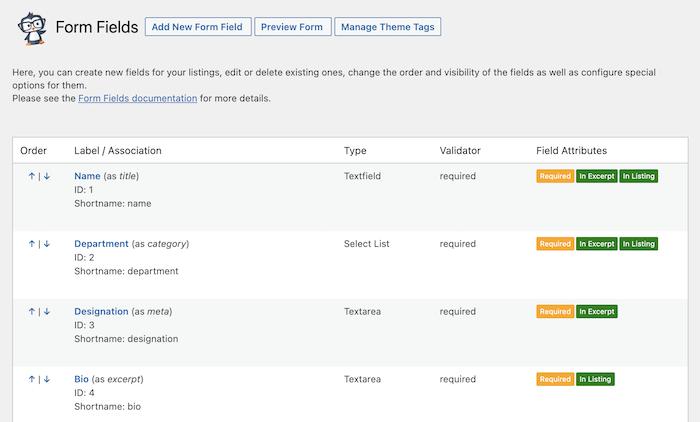 people directory form fields