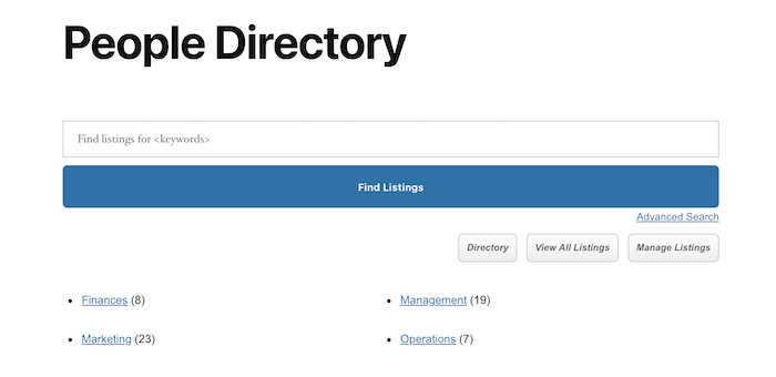people directory front page