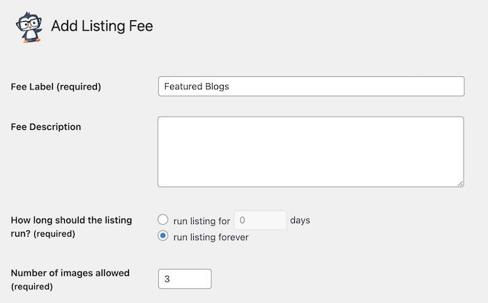 adding a blog listing fee plan