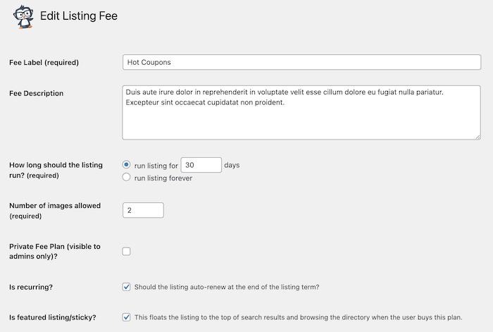 adding a coupon fee plan