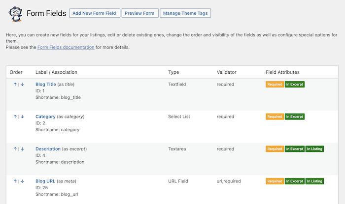 blog directory form fields