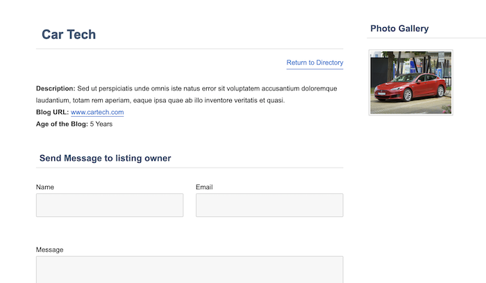 blog directory single item