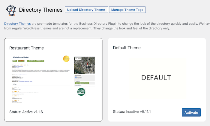 install directory template
