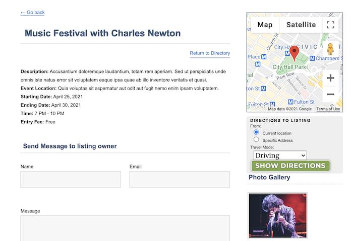single event listing