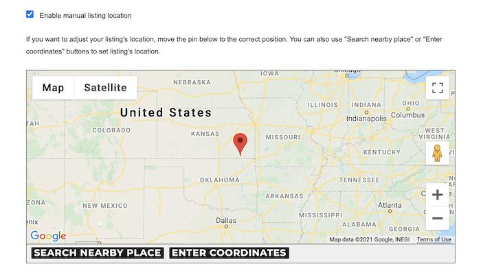 manual listing location