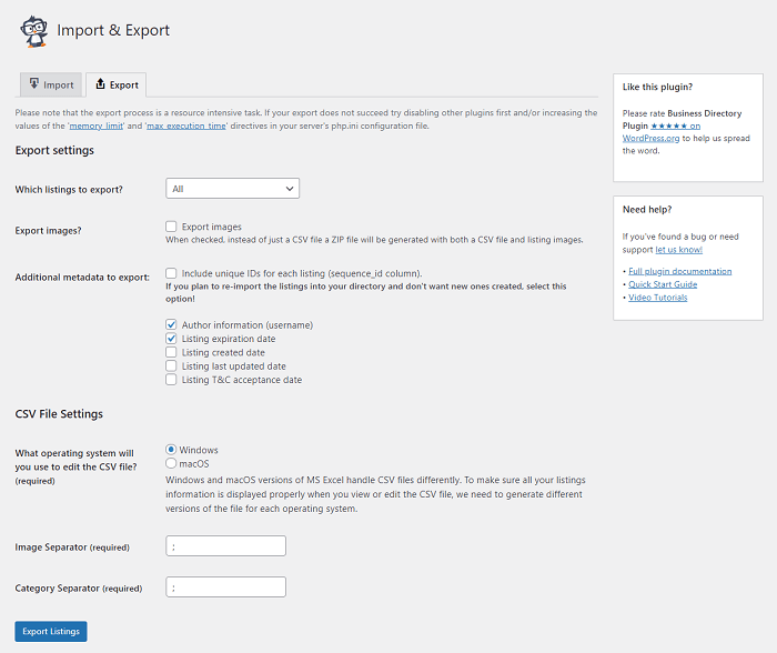 The export settings, which can be tweaked to help generate leads.