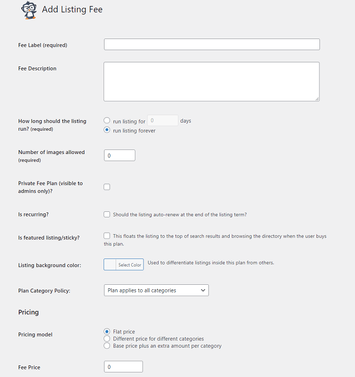 The form to add a new real estate listing fee.