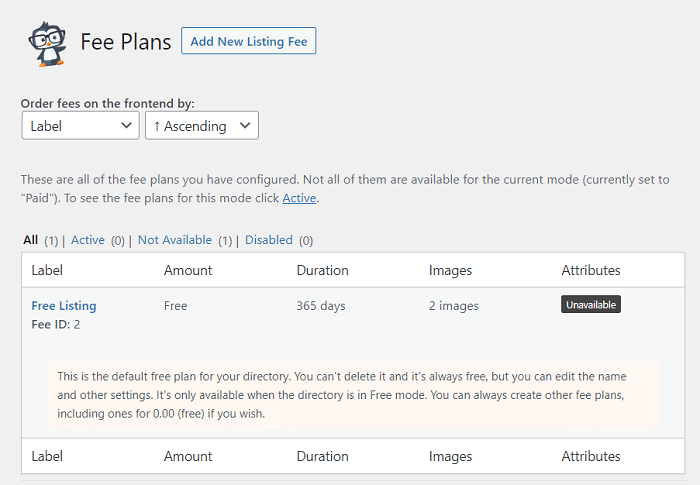 An example of existing fee plans, common in houses for sale websites.