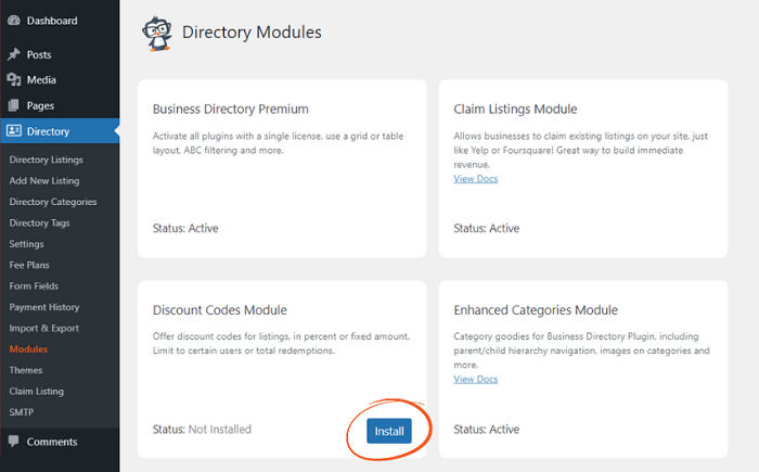 An example of where to install directory modules.