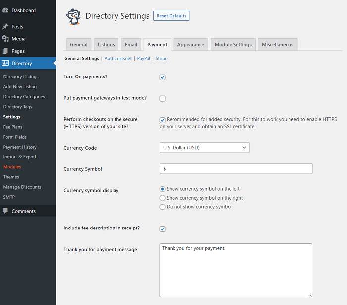 The Business Directory Plugin fee settings page.