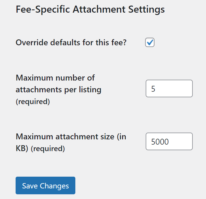 An example of fee attachment settings.