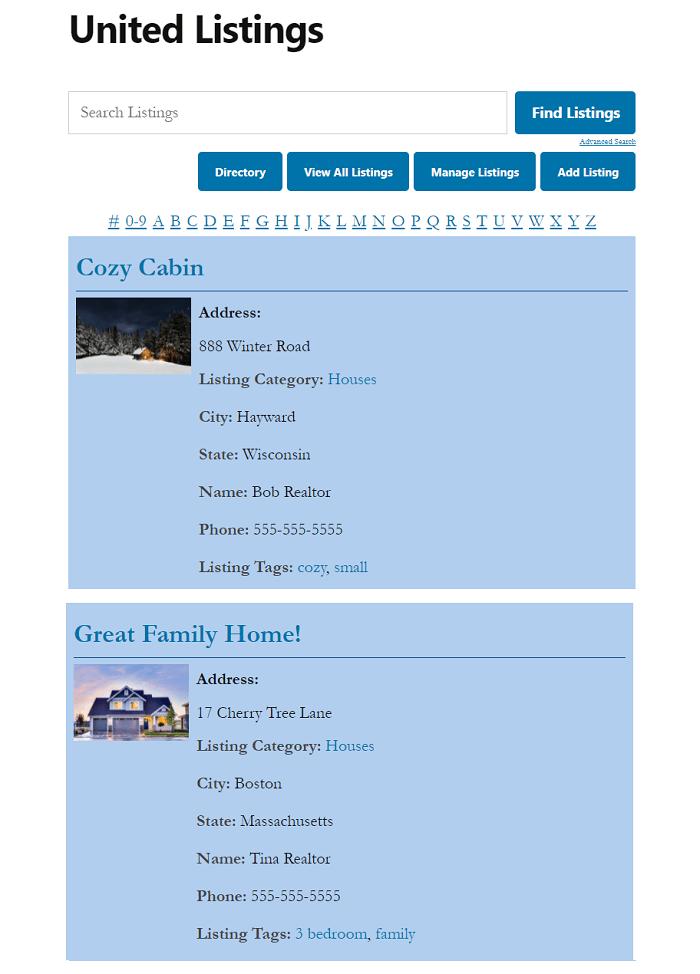 A sample real estate website design.