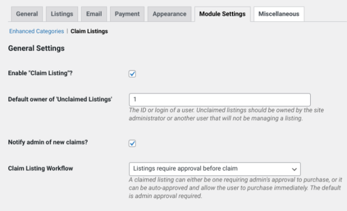 The Claim Listings tab of the Business Directory Plugin settings.