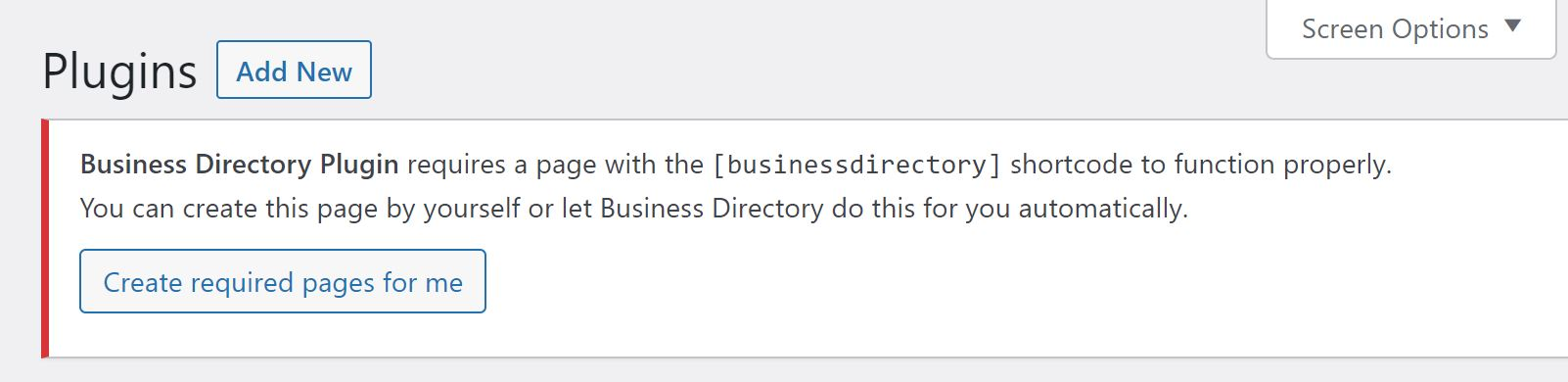 A notification from the free Business Directory Plugin.