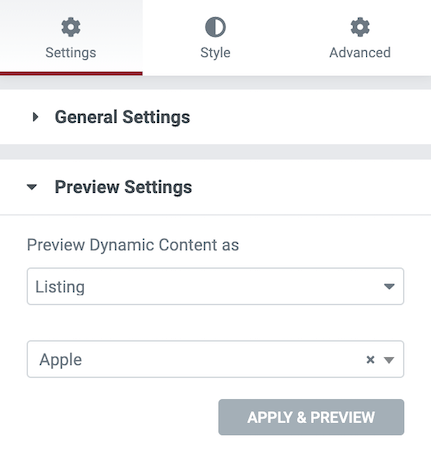 Elementor preview settings for dynamic content