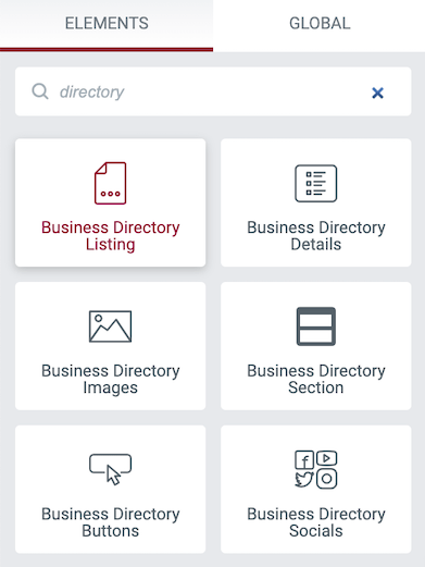 Elementor directory plugin widgets for listings, socials, images, and more