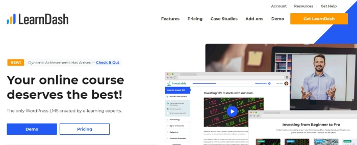 Learn Dash is a WordPress plugin that helps you run online courses on your site.