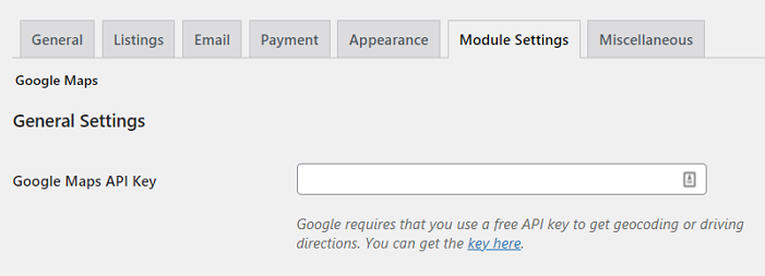 Entering your Google Maps API key to create a Google Get Directions button.