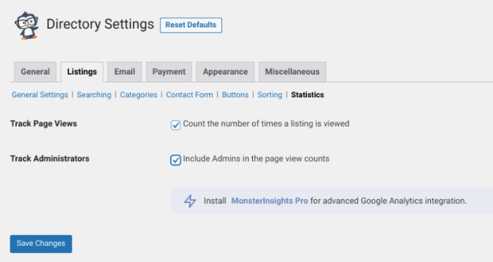 The Statistics settings screen of the Business Directory Plugin.
