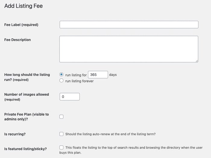 The Add Listing Fee screen of the Business Directory Plugin.