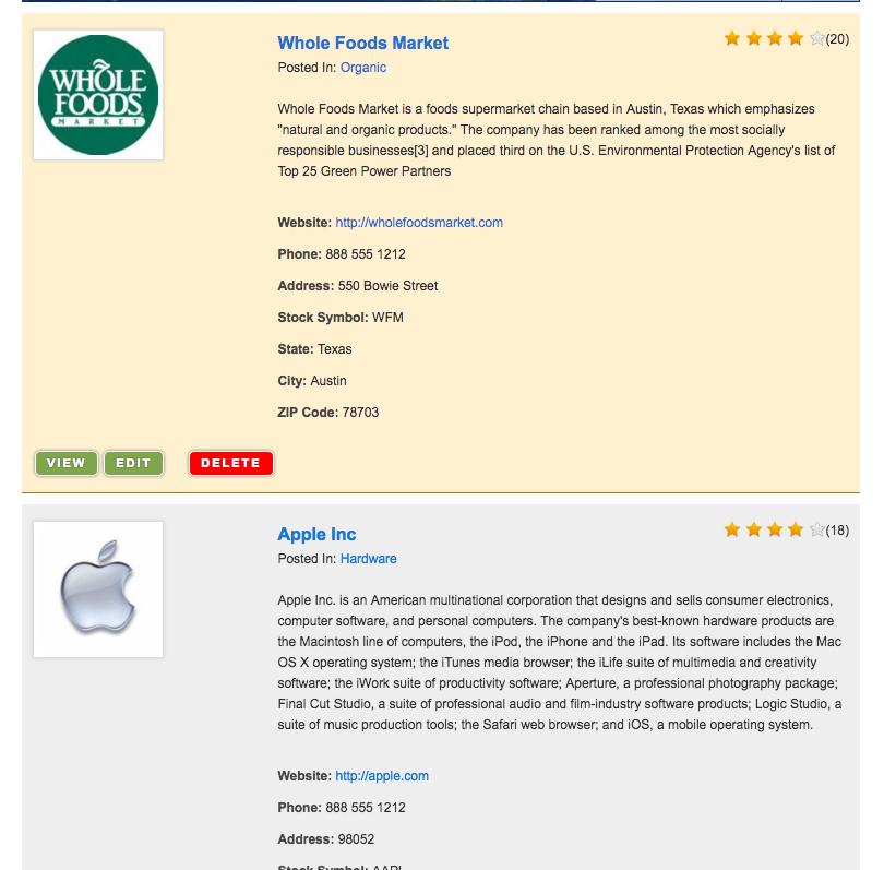 restaurant list directory template for WordPress