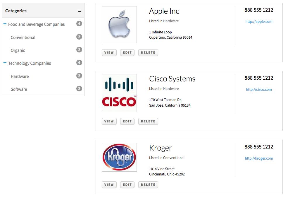 modern business list template for WordPress directory